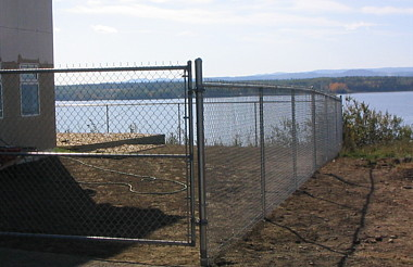 Chain link with lake view